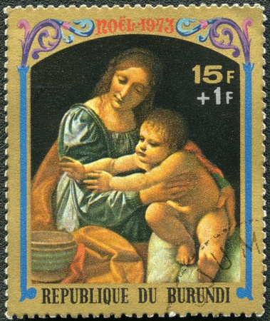BURUNDI - CIRCA 1973: A stamp printed by Burundi shows Virgin and Child by Giovanni Boltraffio, series Christmas, circa 1973 photo