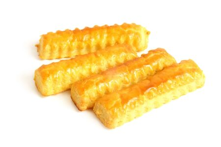 Cheese cookies on a white background photo