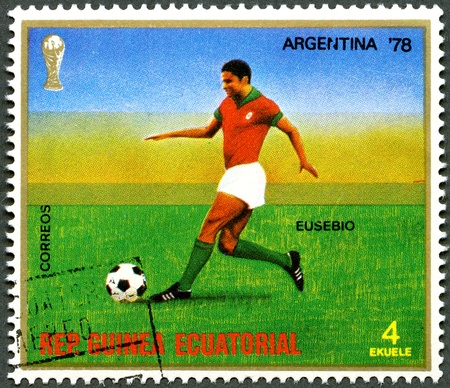 REPUBLIC OF EQUATORIAL GUINEA - CIRCA 1977: A stamp printed in Republic of Equatorial Guinea, devoted World Cup Soccer Championships, Argentina 78, shows Eusebio, circa 1977