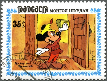 mickey: MONGOLIA - CIRCA 1984: A stamp printed by Mongolia shows Scenes from Walt Disneys Mickey and  the Beanstalk, series, circa 1984 Editorial