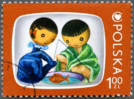 postal card: POLAND - CIRCA 1975: A stamp printed in Poland shows Jacek and Agatka, Cartoon Characters and Childrens Health Center Emblem, series, circa 1975 Stock Photo