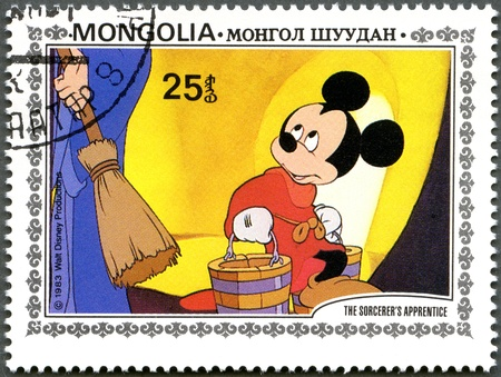 mongolia: MONGOLIA - CIRCA 1983: A stamp printed by Mongolia shows Scenes from Walt Disneys The Sorcerers Apprentice, series, circa 1983