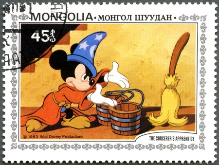 mickey: MONGOLIA - CIRCA 1983: A stamp printed by Mongolia shows Scenes from Walt Disneys The Sorcerers Apprentice, series, circa 1983