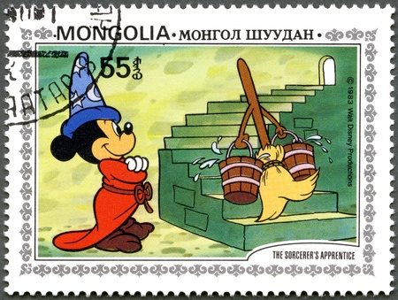perforated stamp: MONGOLIA - CIRCA 1983: A stamp printed by Mongolia shows Scenes from Walt Disneys The Sorcerers Apprentice, series, circa 1983