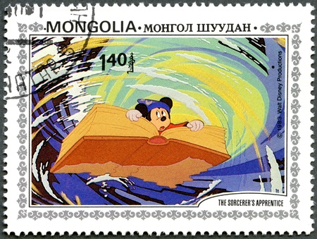 MONGOLIA - CIRCA 1983: A stamp printed by Mongolia shows Scenes from Walt Disney's The Sorcerer's Apprentice, series, circa 1983 Stock Photo - 13257234