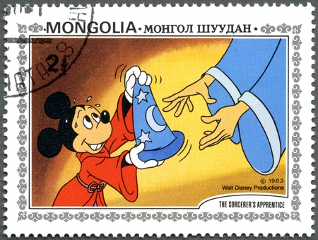 MONGOLIA - CIRCA 1983: A stamp printed by Mongolia shows Scenes from Walt Disney's The Sorcerer's Apprentice, series, circa 1983 Stock Photo - 13257229