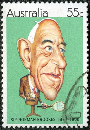 famous people: AUSTRALIA - CIRCA 1981  A stamp printed in Australia shows Australian sportsmen  Caricatures by Tony Rafty   Norman Brookes  1877-1968 , tennis player, circa 1981 Editorial