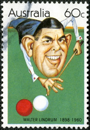 AUSTRALIA - CIRCA 1981  A stamp printed in Australia shows Australian sportsmen  Caricatures by Tony Rafty   Walter Lindrum  1898-1960 , billiards player, circa 1981