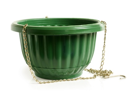 Empty green flower pot on a white background photo