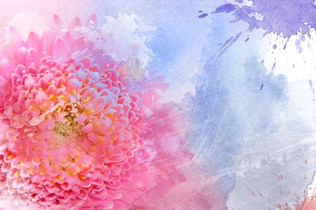 Watercolor pink flower, for backgrounds or textures photo