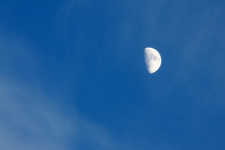 Big shone moon in a blue sky, a horizontal picture photo