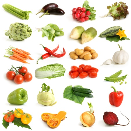Vegetable collection on a white background photo