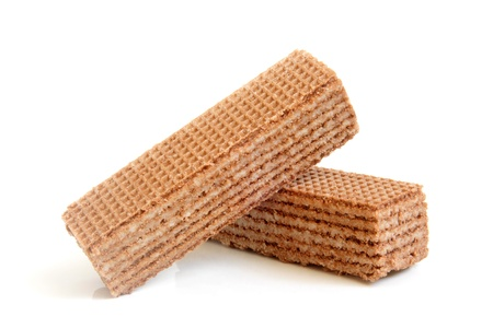 Chocolate wafers on a white background photo