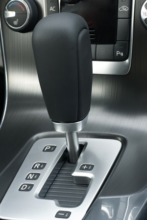 Automatic gear shift of a car, a vertical picture Stock Photo