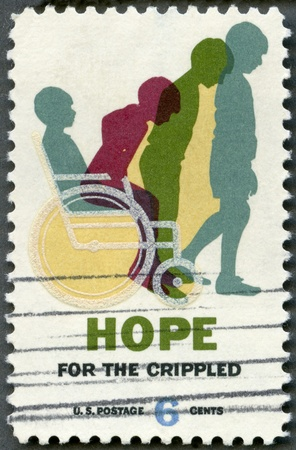 crippled: USA - 1969  shows Cured Child, Hope for Crippled Issue, Issued to encourage the rehabilitation of crippled children and adults, and to honor the National Society for Crippled Children and Adults  Easter Seal Society  on its 50th anniversary Stock Photo