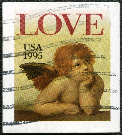 postal office: USA - CIRCA 1995: A stamp printed in USA shows word