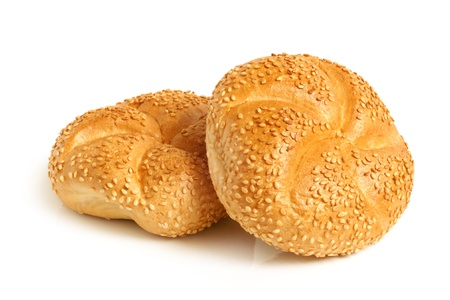 sweet bun: Round buns with sesame on a white background