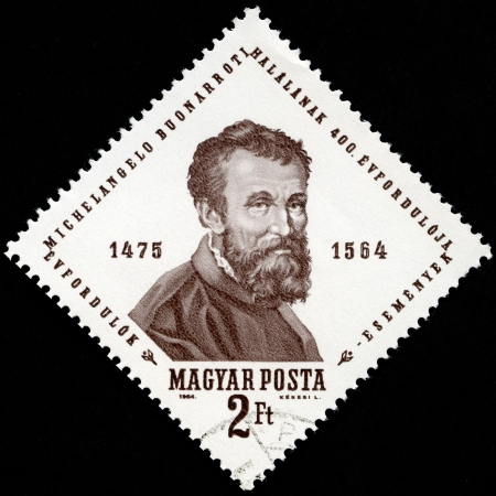 HUNGARY - CIRCA 1964: A stamp printed by Hungary shows Michelangelo, Michelangelo's 400th death anniversary, circa 1964 Stock Photo - 13624493
