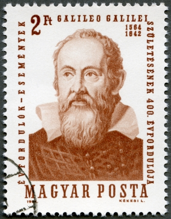 HUNGARY - CIRCA 1964: A stamp printed by Hungary, shows Galileo Galilei (1564-1642), issued for the 400th birth anniversary, circa 1964
