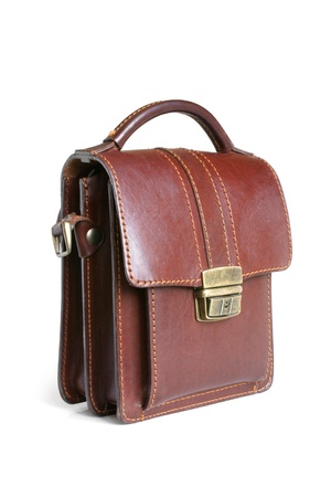 satchel: Brown leather bag on a white background Stock Photo