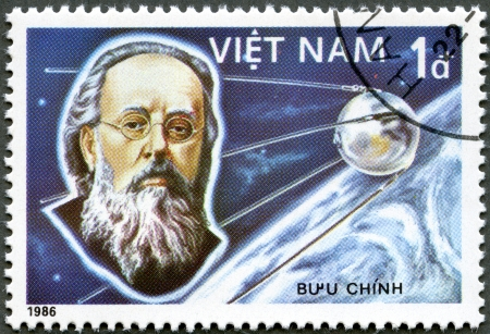 manned: VIETNAM - CIRCA 1986: A stamp printed in the Vietnam shows Konstantin Tsiolkovsky, 1st Manned Space Flight, 25th Anniversary, circa 1986