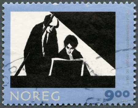 NORWAY - CIRCA 2003   A stamp printed in Norway shows Conductor and Soloist, by Niclas Gulbrandsen, series Graphic Arts, circa 2003 Stock Photo - 13706325