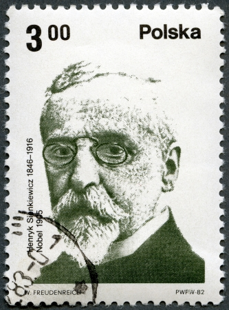 POLAND - CIRCA 1982  A stamp printed in Poland shows Polish Nobel Prize Winner  Henryk Sienkiewicz  1846-1916 , writer, circa 1982 Stock Photo - 13706323