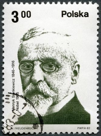 POLAND - CIRCA 1982  A stamp printed in Poland shows Polish Nobel Prize Winner  Henryk Sienkiewicz  1846-1916 , writer, circa 1982 Stock Photo - 13706323