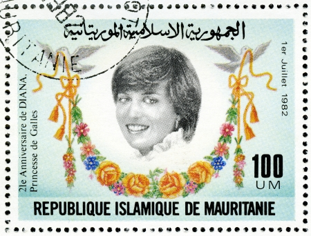 philanthropist: MAURITANIA - CIRCA 1982  A stamp printed in Mauritania shows Diana, 21st Birthday of Princess Diana of Wales, circa 1982
