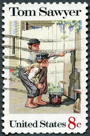 sawyer: UNITED STATES OF AMERICA - CIRCA 1972: A stamp printed in USA shows the painting