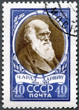 USSR - CIRCA 1959: A stamp printed in USSR shows Charles Darwin (1809-1882), English biologist, circa 1959 photo