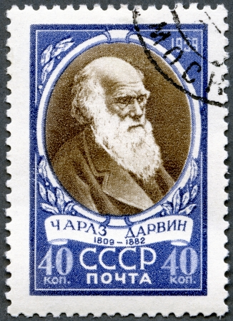 darwin: USSR - CIRCA 1959: A stamp printed in USSR shows Charles Darwin (1809-1882), English biologist, circa 1959