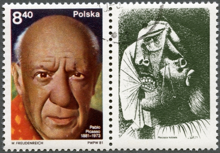 ceramicist: POLAND - CIRCA 1981  A stamp printed in Poland shows Pablo Picasso  1881-1973 , artist, birth centenary, with label showing A Crying Woman, circa 1981