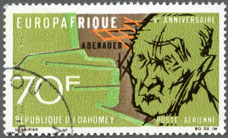 REPUBLIC OF DAHOMEY - CIRCA 1968: A stamp printed in Republic of Dahomey shows Konrad Adenauer (1876-1967), 5th anniversary of the economic agreement between the European Economic Community and the African and Malagasy Union, circa 1968 Stock Photo - 13794395