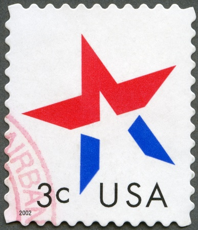 statehood: UNITED STATES OF AMERICA - CIRCA 2002: A stamp printed in USA shows star, circa 2002 Stock Photo