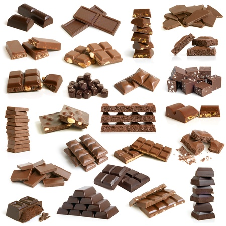 filbert nut: Chocolate collection on a white background Stock Photo