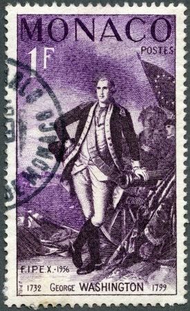 MONACO - CIRCA 1956: A stamp printed in Monaco shows George Washington (1732-1799), circa 1956
