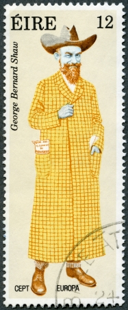 IRELAND - CIRCA 1980: A stamp printed in Ireland shows George Bernard Shaw (1856-1950), by Alick Ritchie, circa 1980 Stock Photo - 13893279