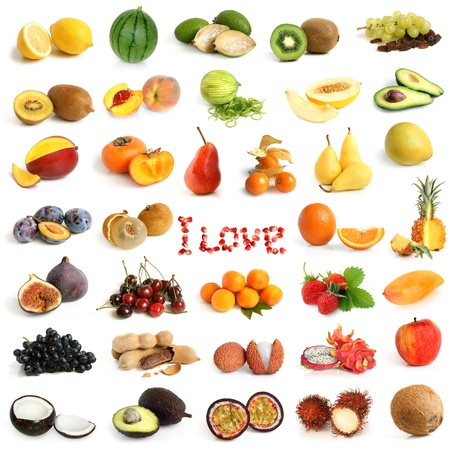 Fruit collection on a white background photo