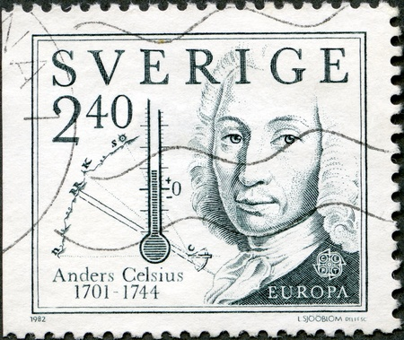 celsius: SWEDEN - CIRCA 1982: A stamp printed in Sweden shows Anders Celsius (1701-1744), inventor of temperature, circa 1982