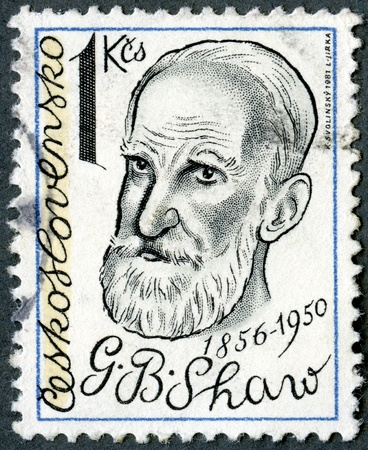 CZECHOSLOVAKIA - CIRCA 1981: A stamp printed in Czechoslovakia shows George Bernard Shaw (1856-1950), playwright, circa 1981 Stock Photo - 13936878