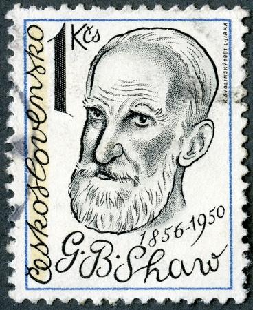 laureate: CZECHOSLOVAKIA - CIRCA 1981: A stamp printed in Czechoslovakia shows George Bernard Shaw (1856-1950), playwright, circa 1981 Stock Photo