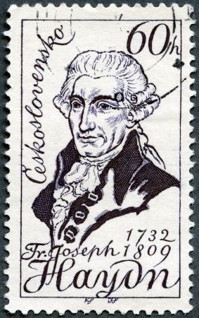 CZECHOSLOVAKIA - CIRCA 1959: A stamp printed in Czechoslovakia shows Franz Joseph Haydn(1732-1809), 150th death anniversary, Austrian composer, circa 1959 Stock Photo - 13936877