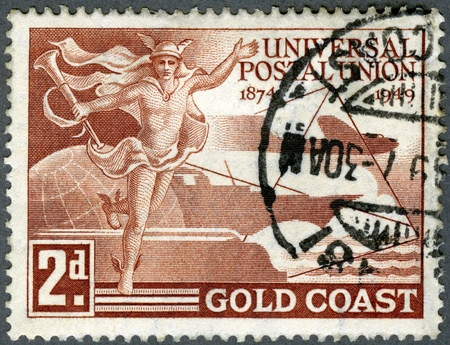 GOLD COAST - CIRCA 1949  A stamp printed in Gold Coast, devoted Universal Postal Union  1874-1949 , circa 1949 Stock Photo - 13970712