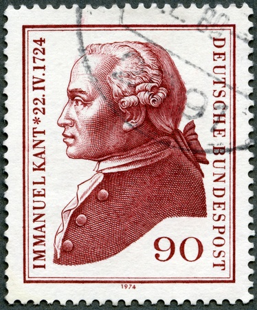 immanuel: GERMANY- CIRCA 1974: A stamp printed by Germany shows Immanuel Kant (1724-1804), philosopher, circa 1974 Editorial