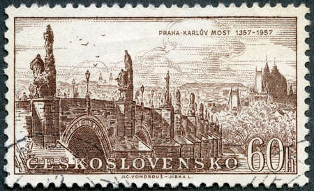 stamp collecting: CZECHOSLOVAKIA - CIRCA 1957: A stamp printed in Czechoslovakia shows Charles Bridge 1357-1957, Prague, circa 1957 Stock Photo