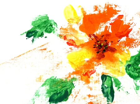 encaustic: Painted abstract flower on a white background