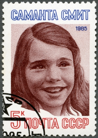 USSR - CIRCA 1985: A stamp printed in USSR shows portrait of Samantha Reed Smith, American schoolgirl, peace activist who became famous in the Cold War-era United States and Soviet Union, circa 1985