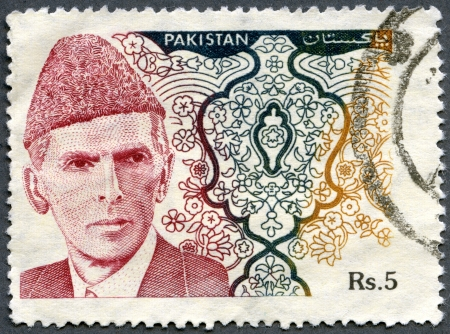 jinnah: PAKISTAN - CIRCA 1994: A stamp printed in Pakistan shows Muhammad Ali Jinnah (1876-1948)  was a lawyer, politician and statesman who is known as being the founder of Pakistan, circa 1994