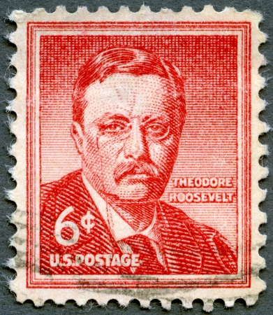 roosevelt: USA - CIRCA 1955: A stamp printed in United States of America shows Theodore  Editorial